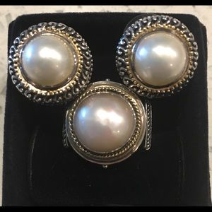 Jewelry - SOLD Sterling Silver and 14K Yellow Gold Pearl Set